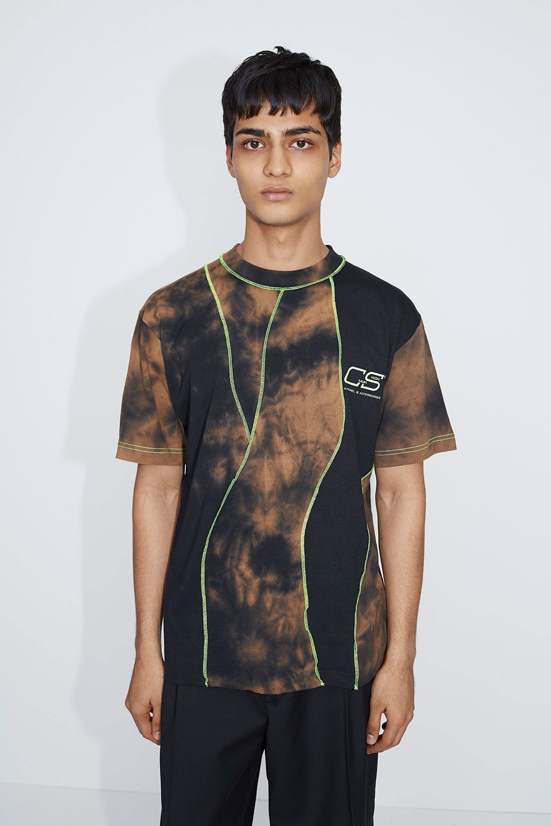 Raz panelled t-shirt brown/black