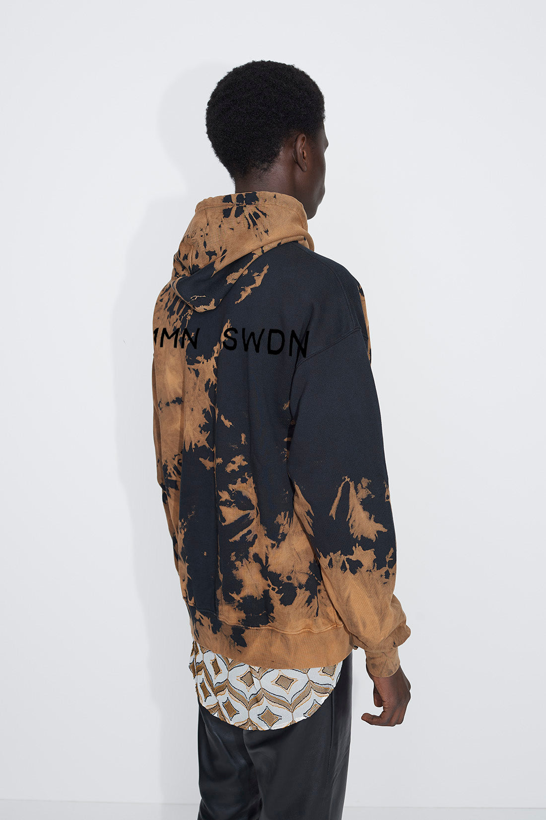 Shawn Print bleach hoodie brown/black