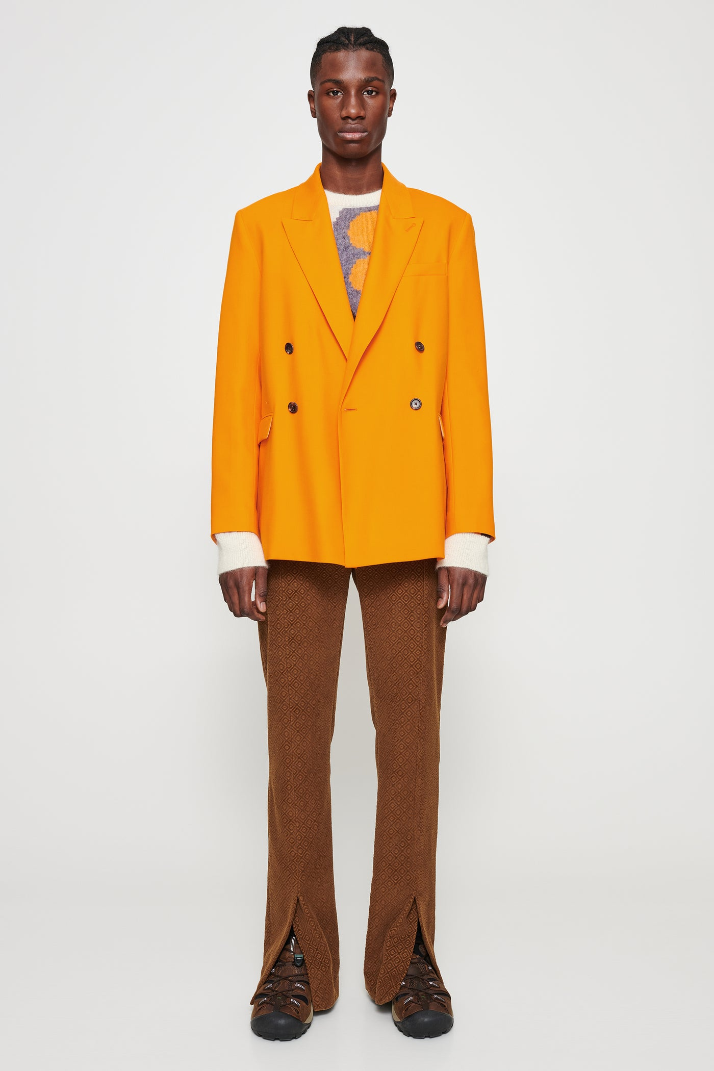 Vigar tailored double-breasted blazer orange M18W316