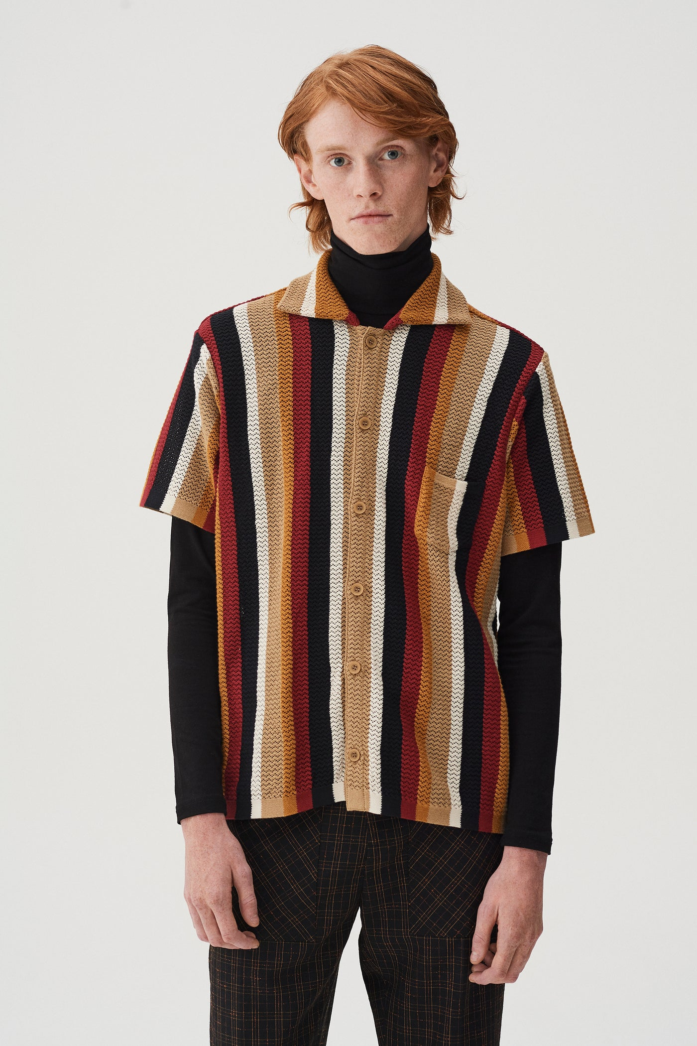 Wes Knitted Striped Shirt Multicolour