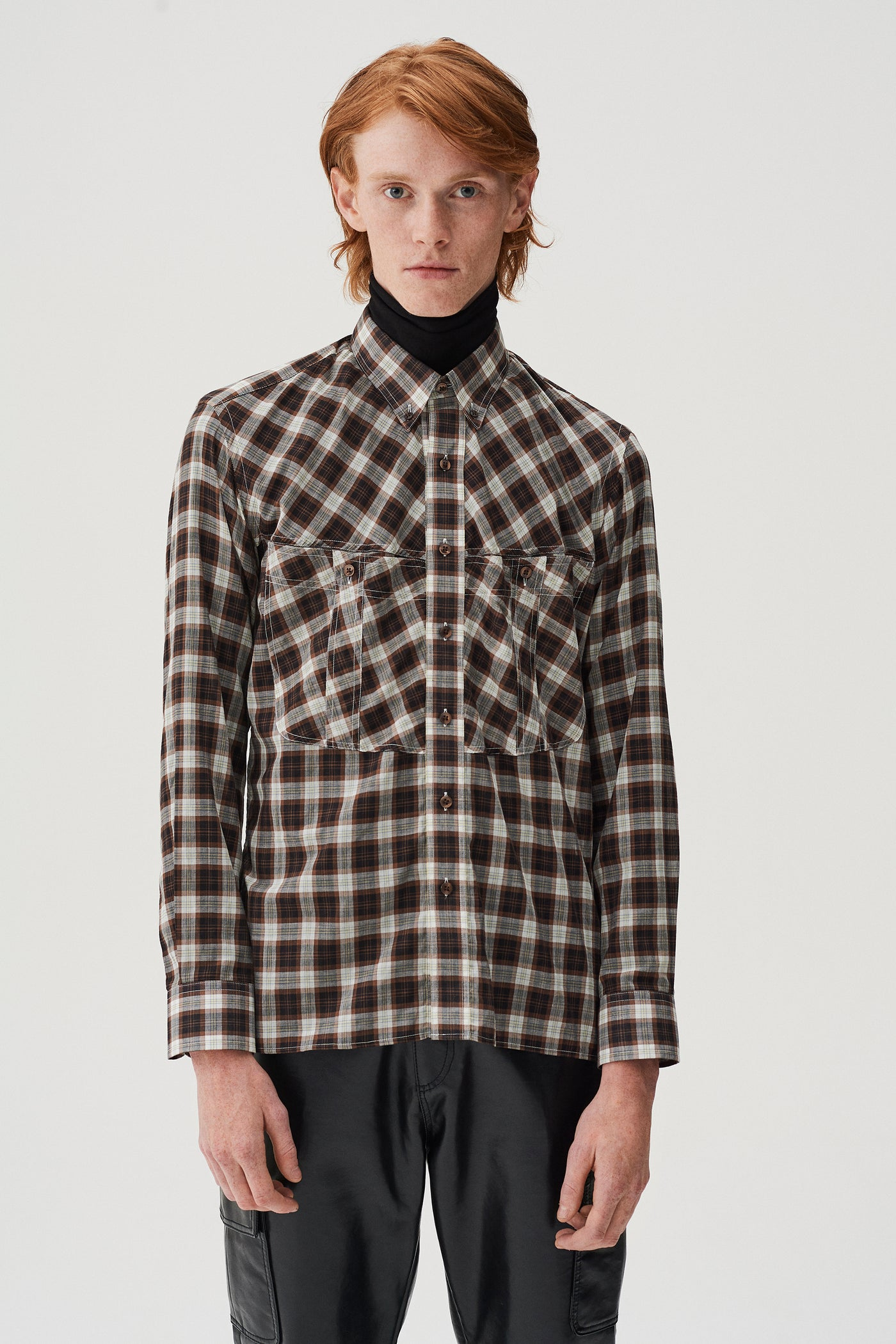 Landon Slim Fit Shirt Brown Check