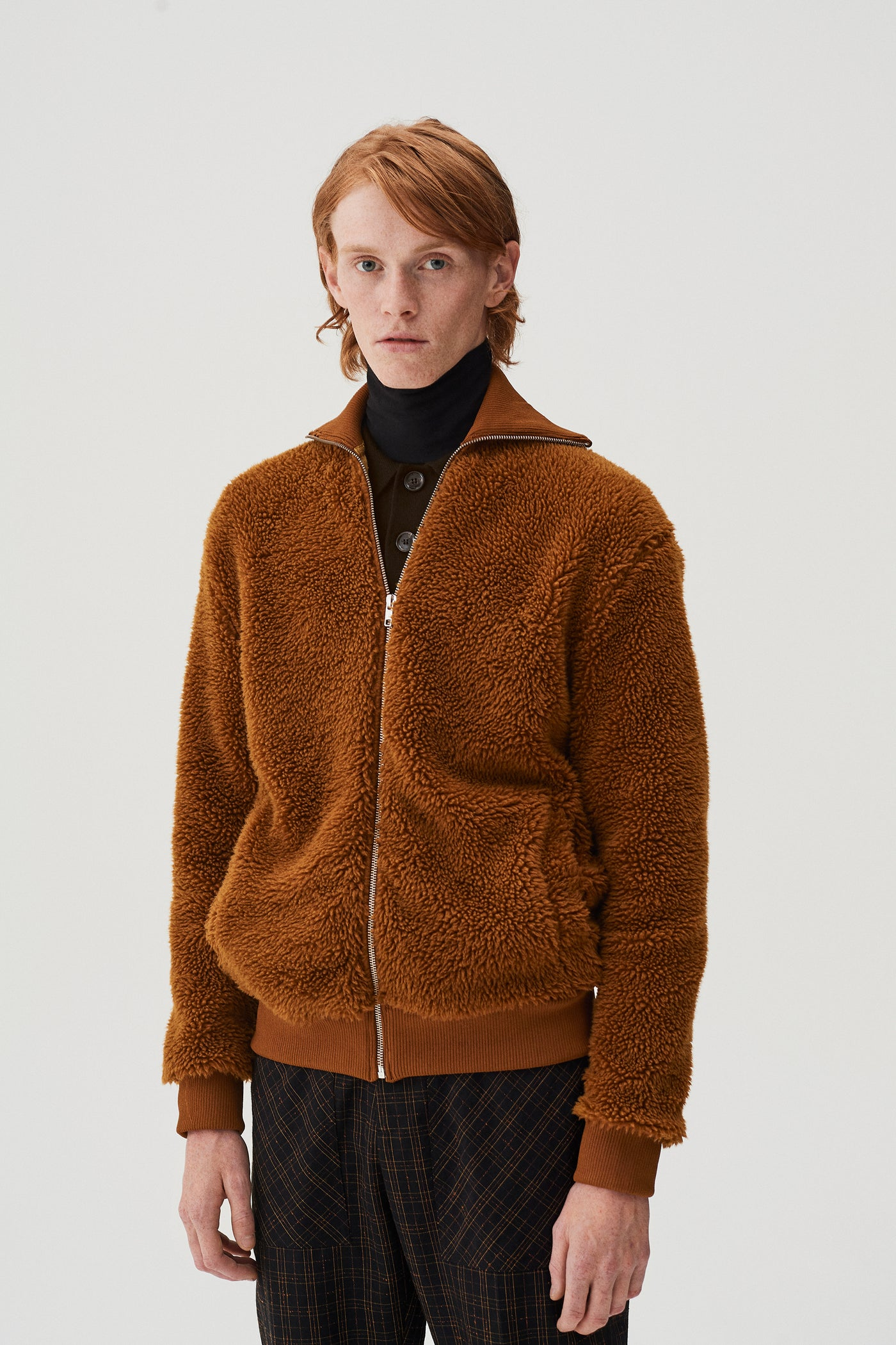 Terry Textured Zip Jumper Caramel
