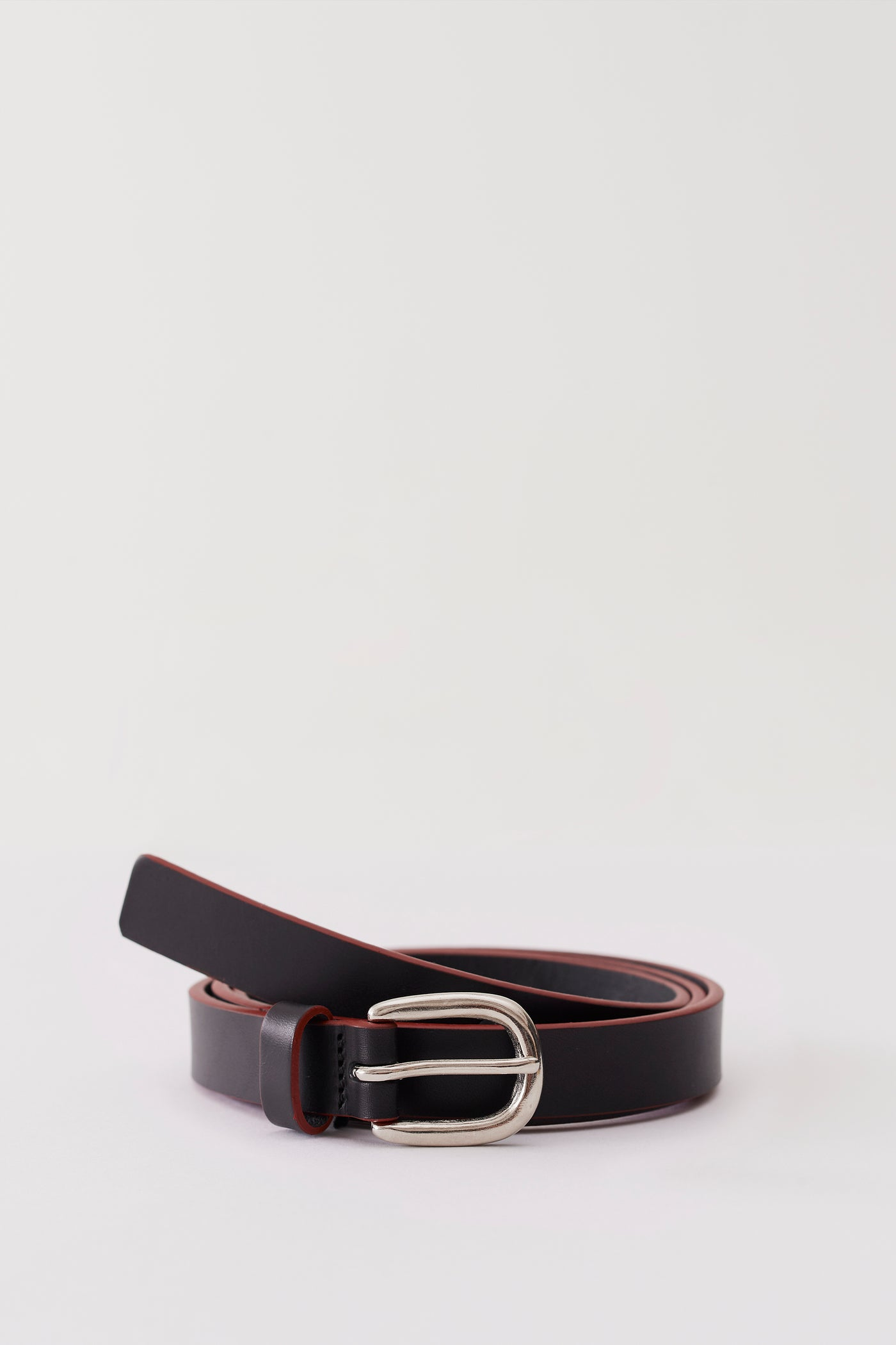 Cas Leather Belt Black Red