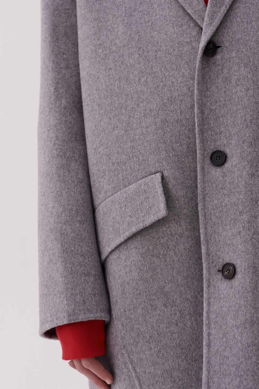 Aiden Cashmere Wool Coat Light Grey