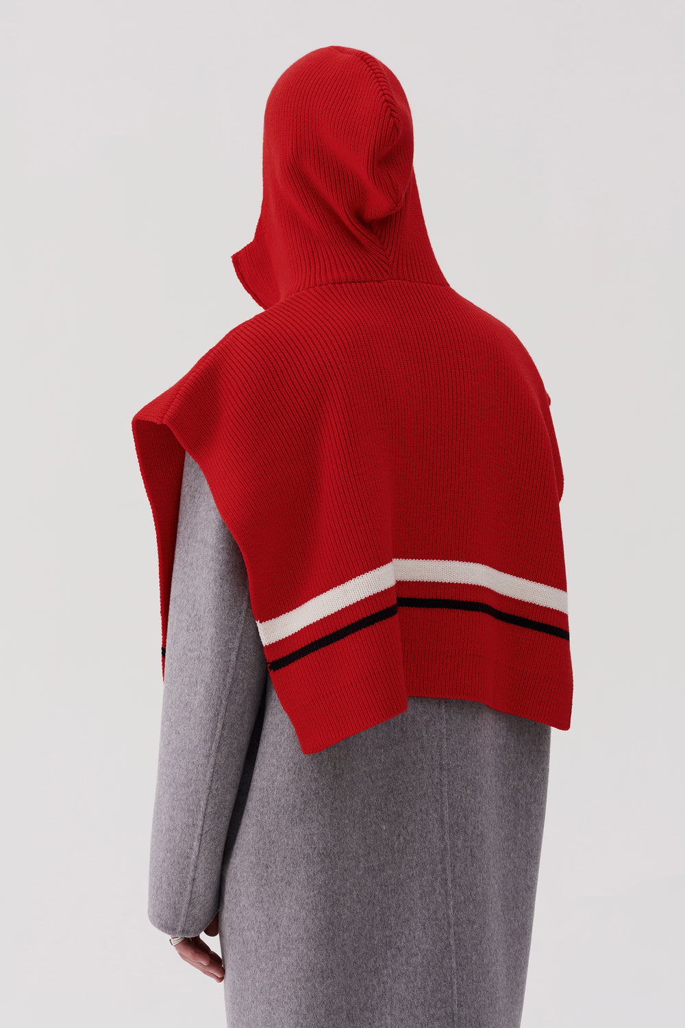 Arran Hooded Zip Poncho Red