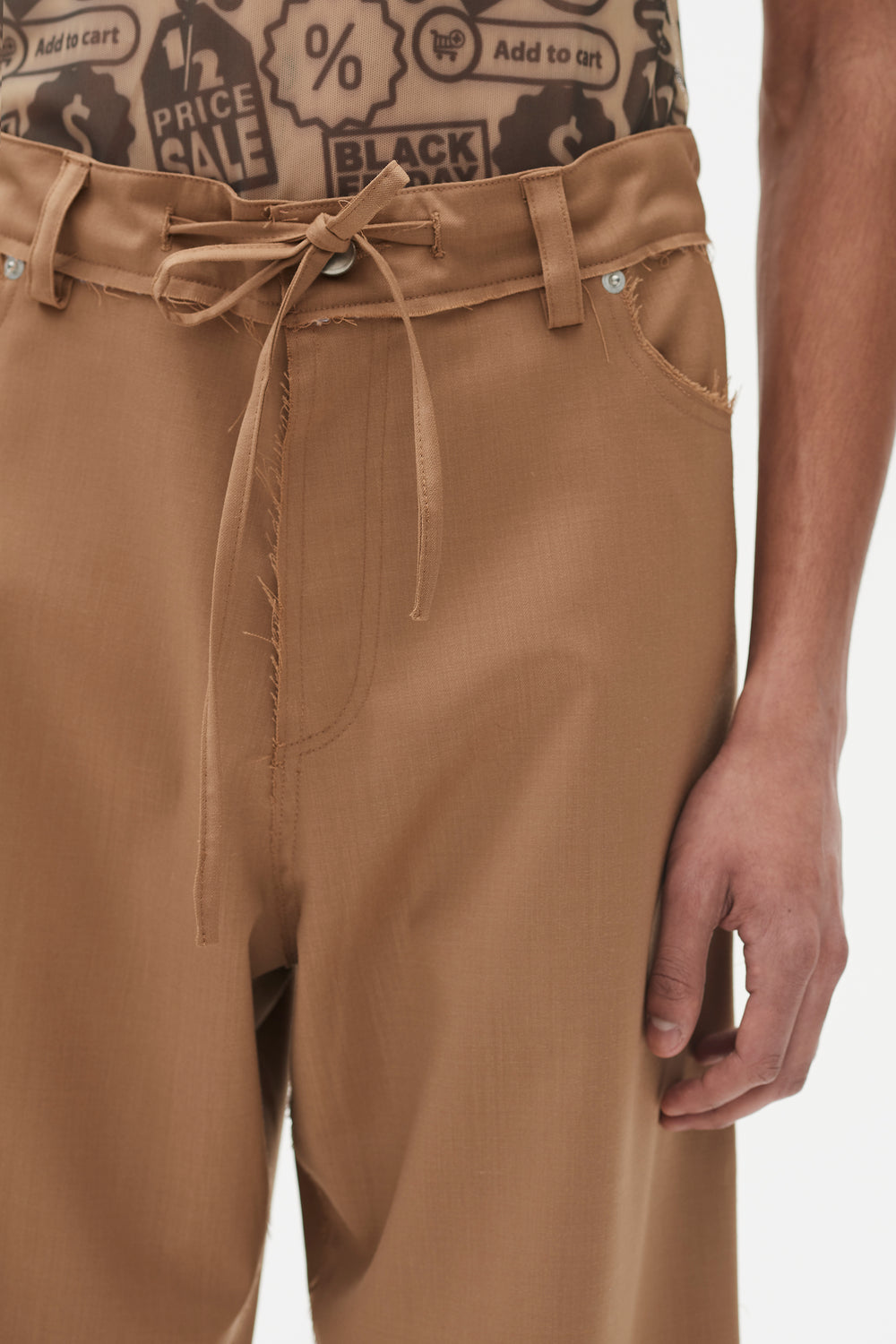 Avery 5 Pocket Drawstring Trousers Camel