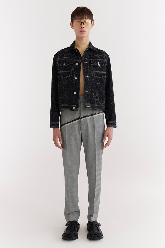 CMMN SWDN BRANDON is a mens denim style jacket with a boxy fit, featuring contrast topstitching.