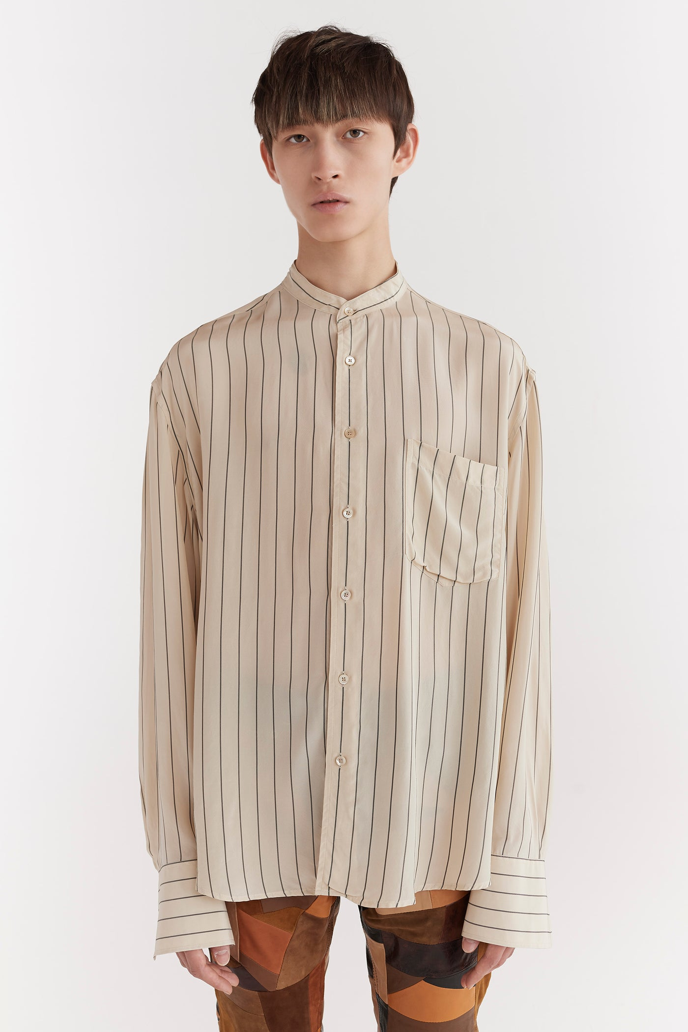 Brice Collarless Shirt Beige Stripe