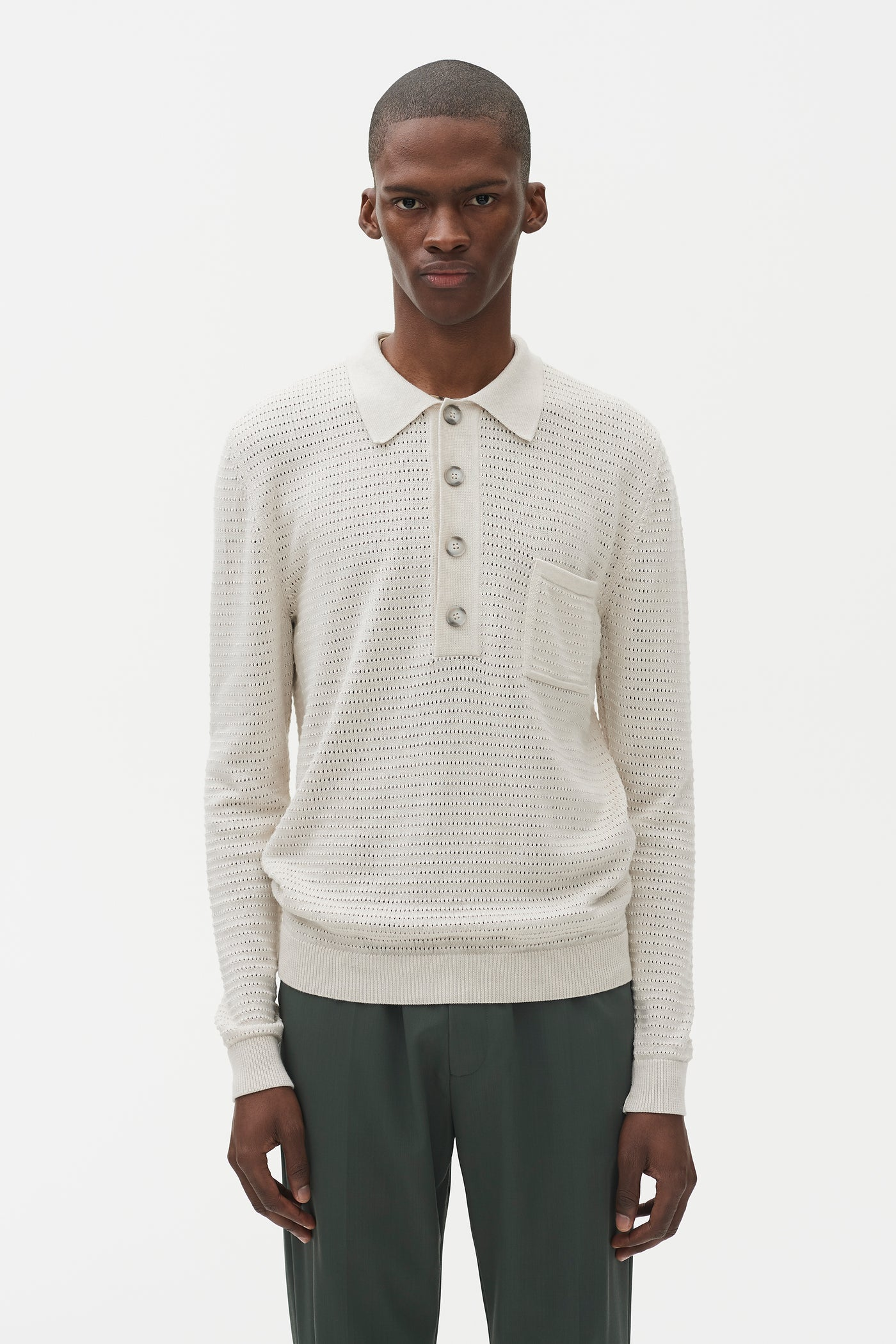 Curtis Long Sleeve Cotton Polo Natural