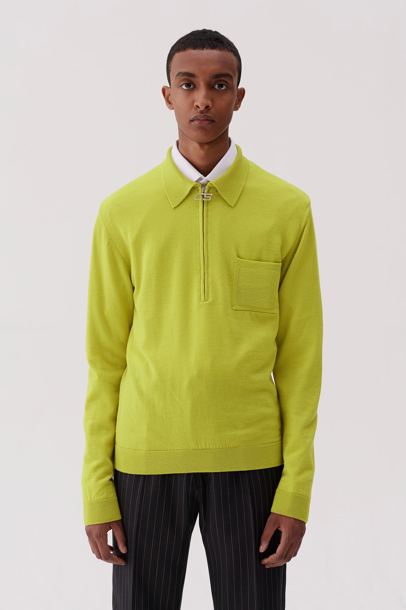Curtis Polo Sweater Acid Yellow