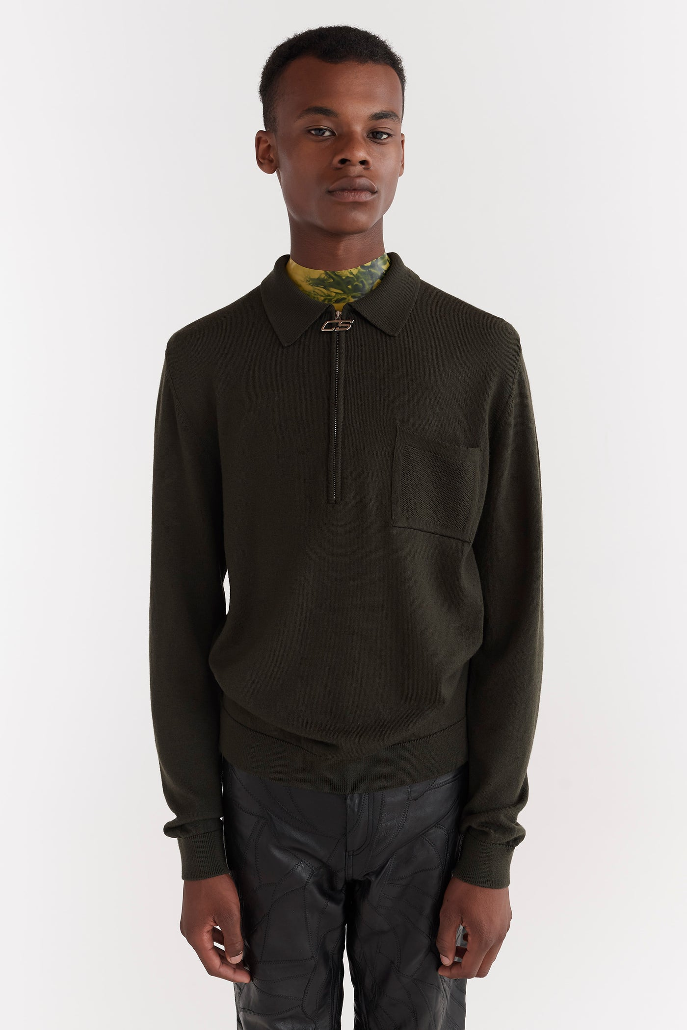 Curtis Zip Polo Sweater Moss Green