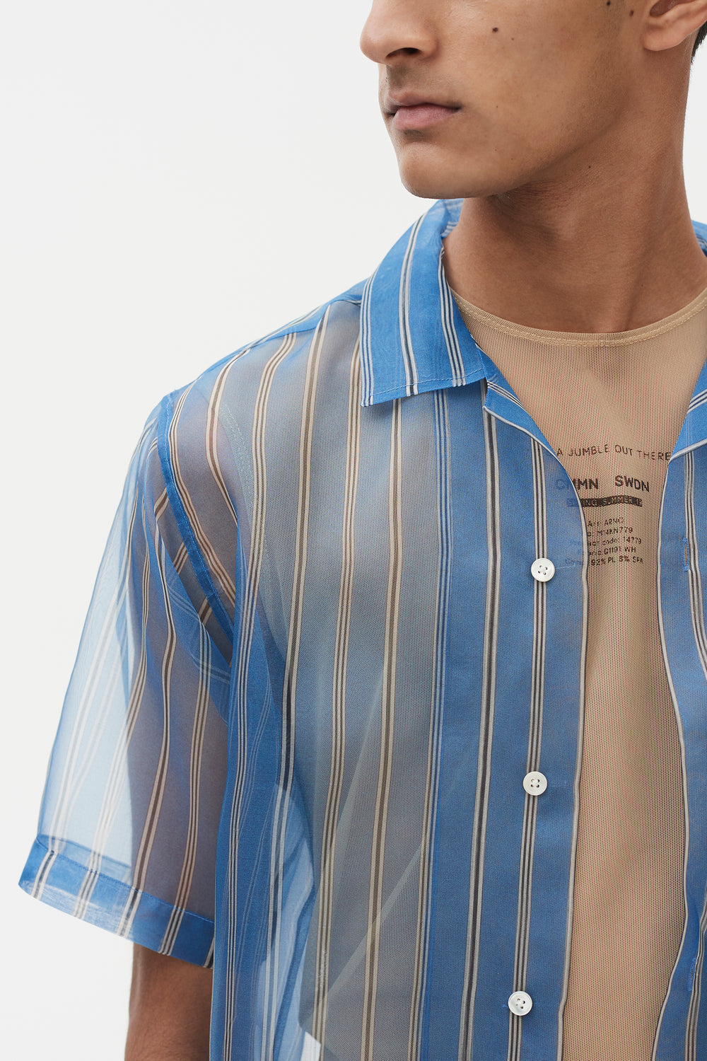 Duncan Silk Organza Shirt Blue Stripe