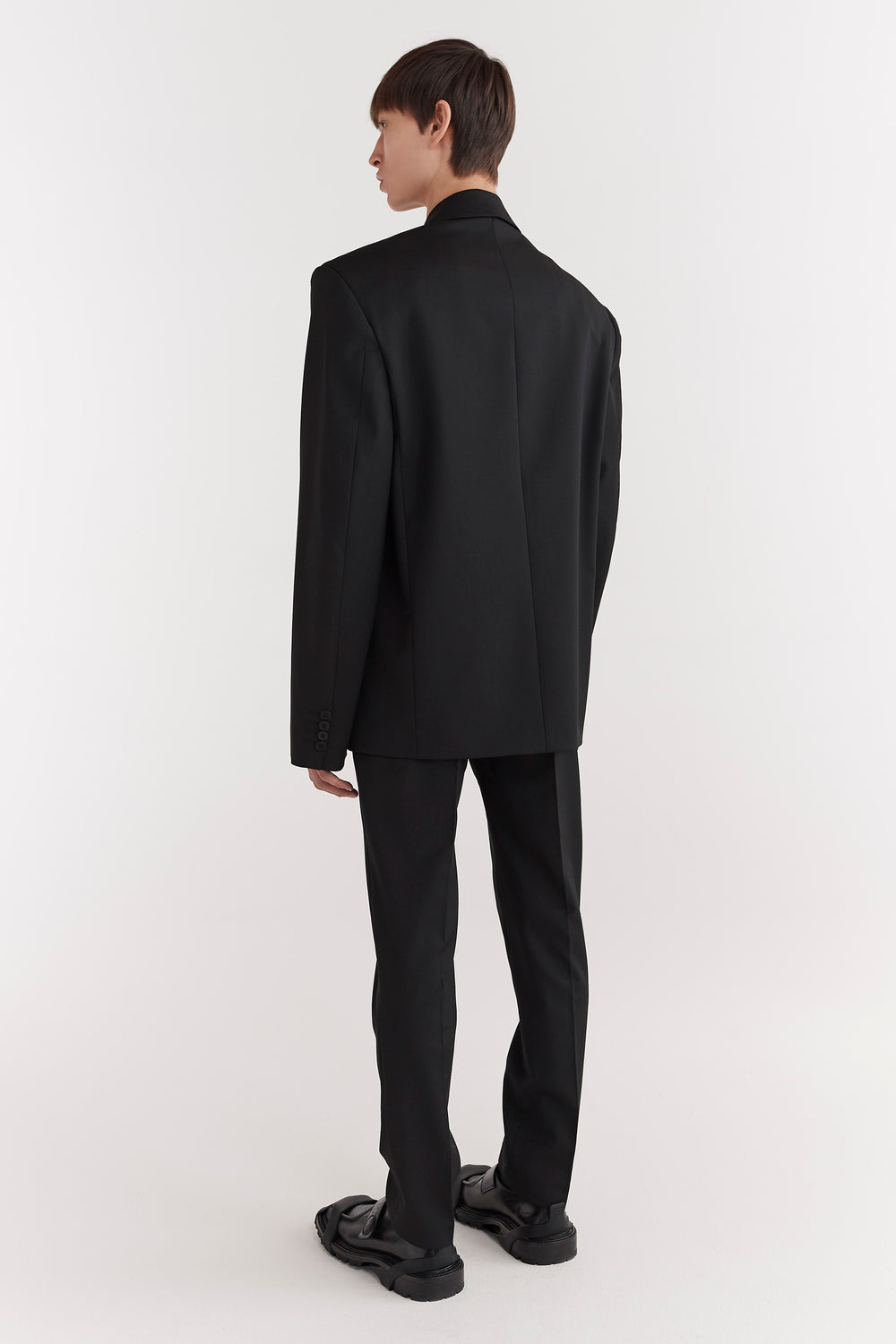 Eli Double-Breasted Tailored Suit Jacket Black