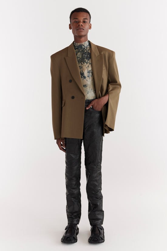 Eli Double-Breasted Tailored Suit Jacket Moss Green