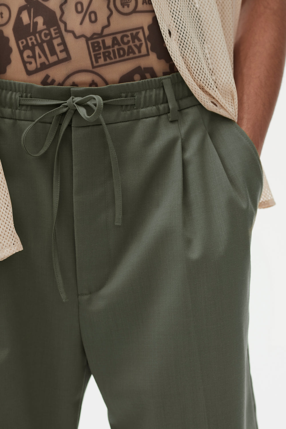 Jayson Elasticated Double Pleat Shorts Sage