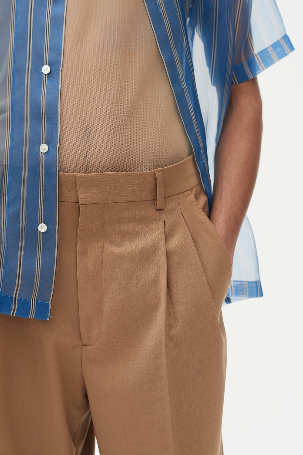 Jay Pleated Trousers Camel