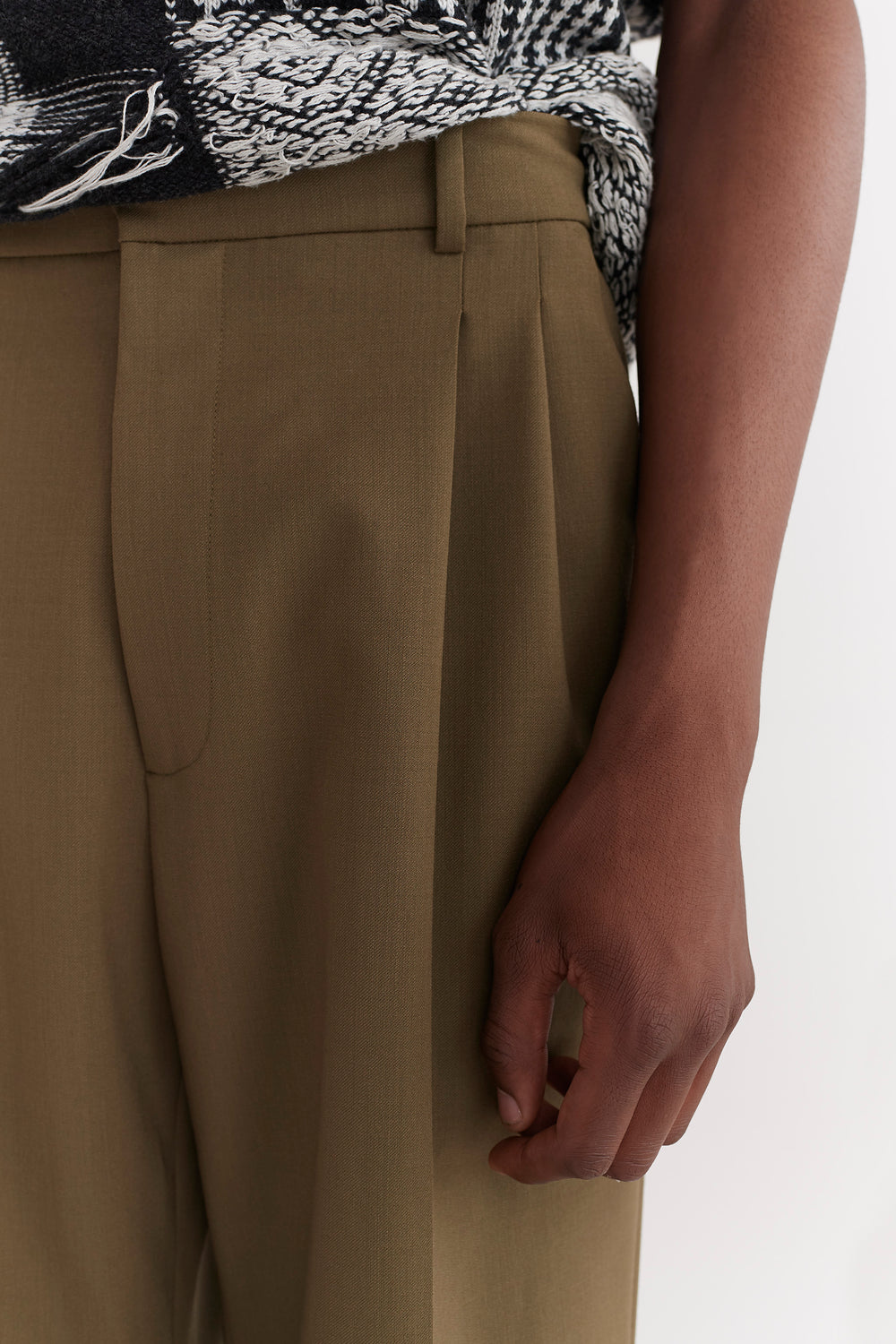 Jay Pleated Trousers Moss Green