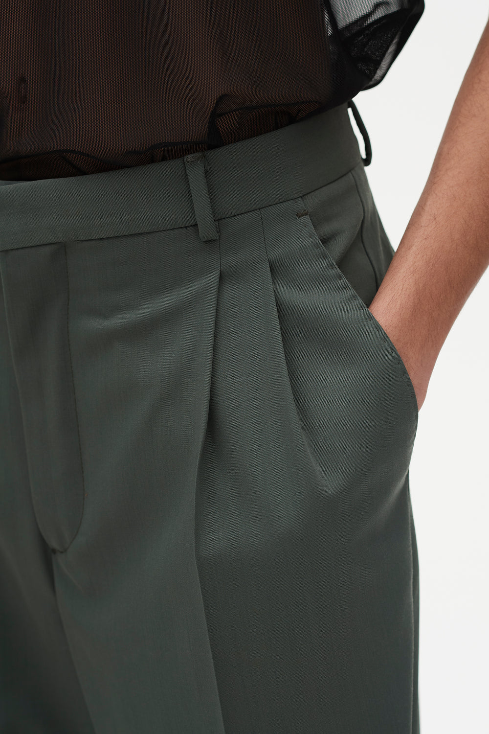 Jay Pleated Trousers Sage