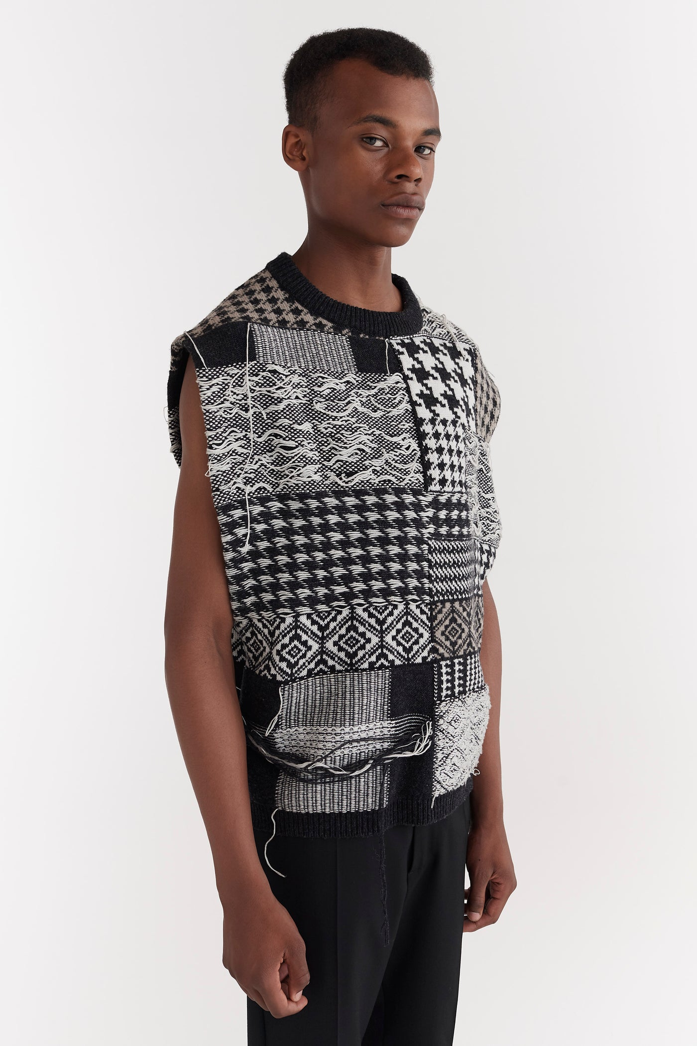 Leon Patchwork Vest Black/White