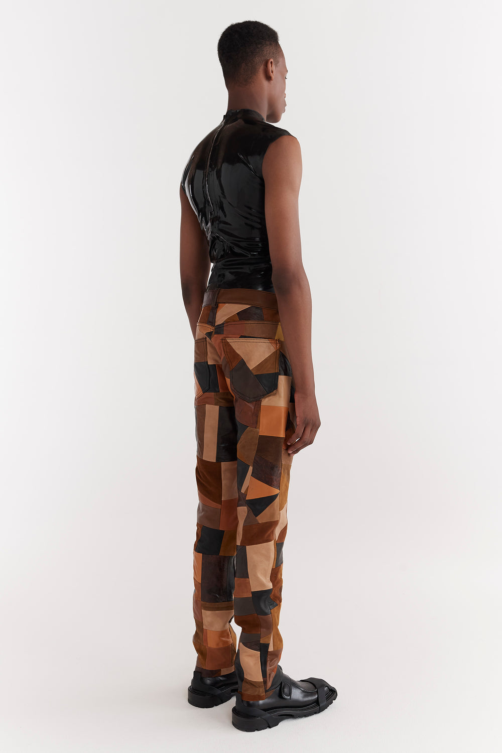 Luke Patchwork Leather Pants Brown