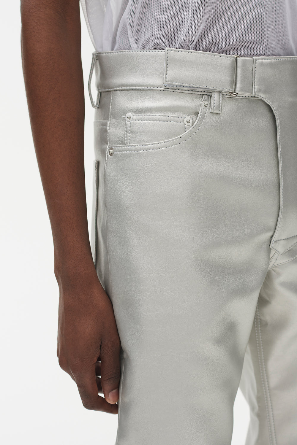 Luke 5 Pocket Moto Pants Silver