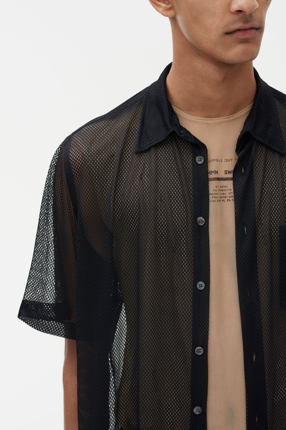 Niels short Sleeve Mesh Shirt Black