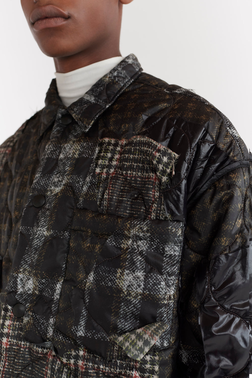Qhris Patchwork Quilted Puffer Overshirt Brown