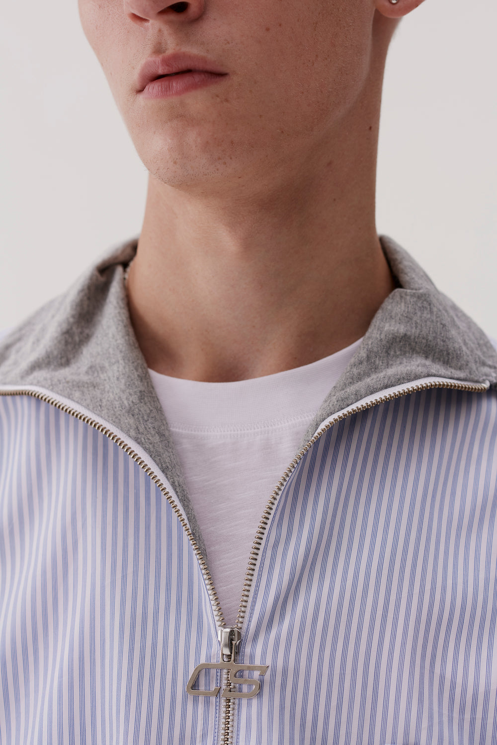 Reggie Half Zip Shirt With Jersey Collar Office Stripe