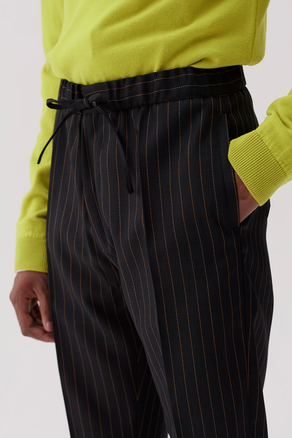 Stan Drawstring Trousers Brown Pinstripe