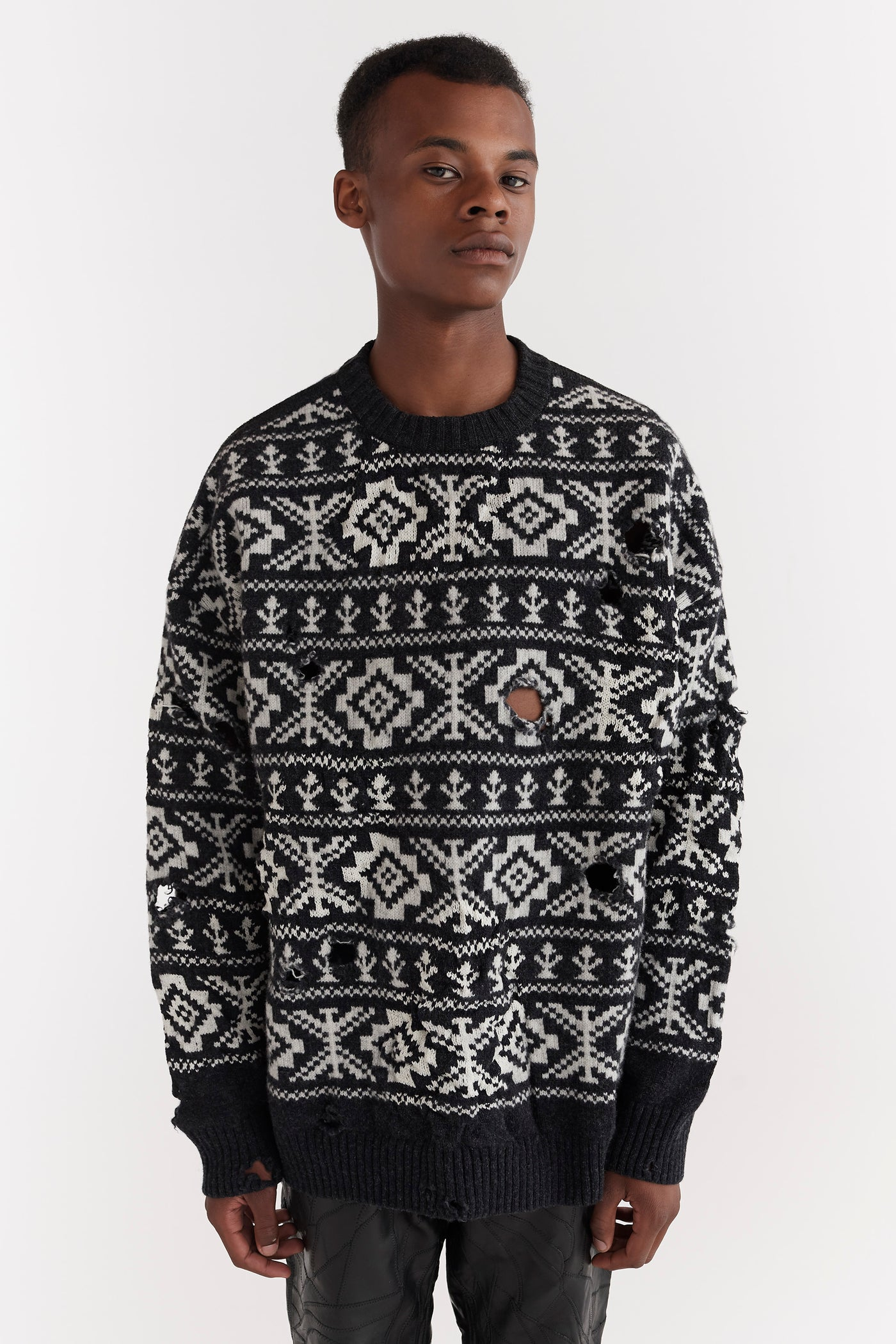 Theis Distressed Fairisle Jumper Charcoal Grey