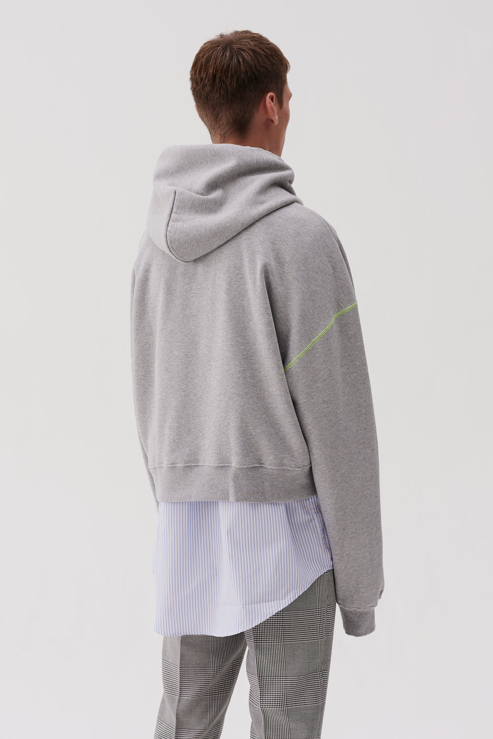 Tyrone Hooded Sweatshirt Grey Acid Yellow