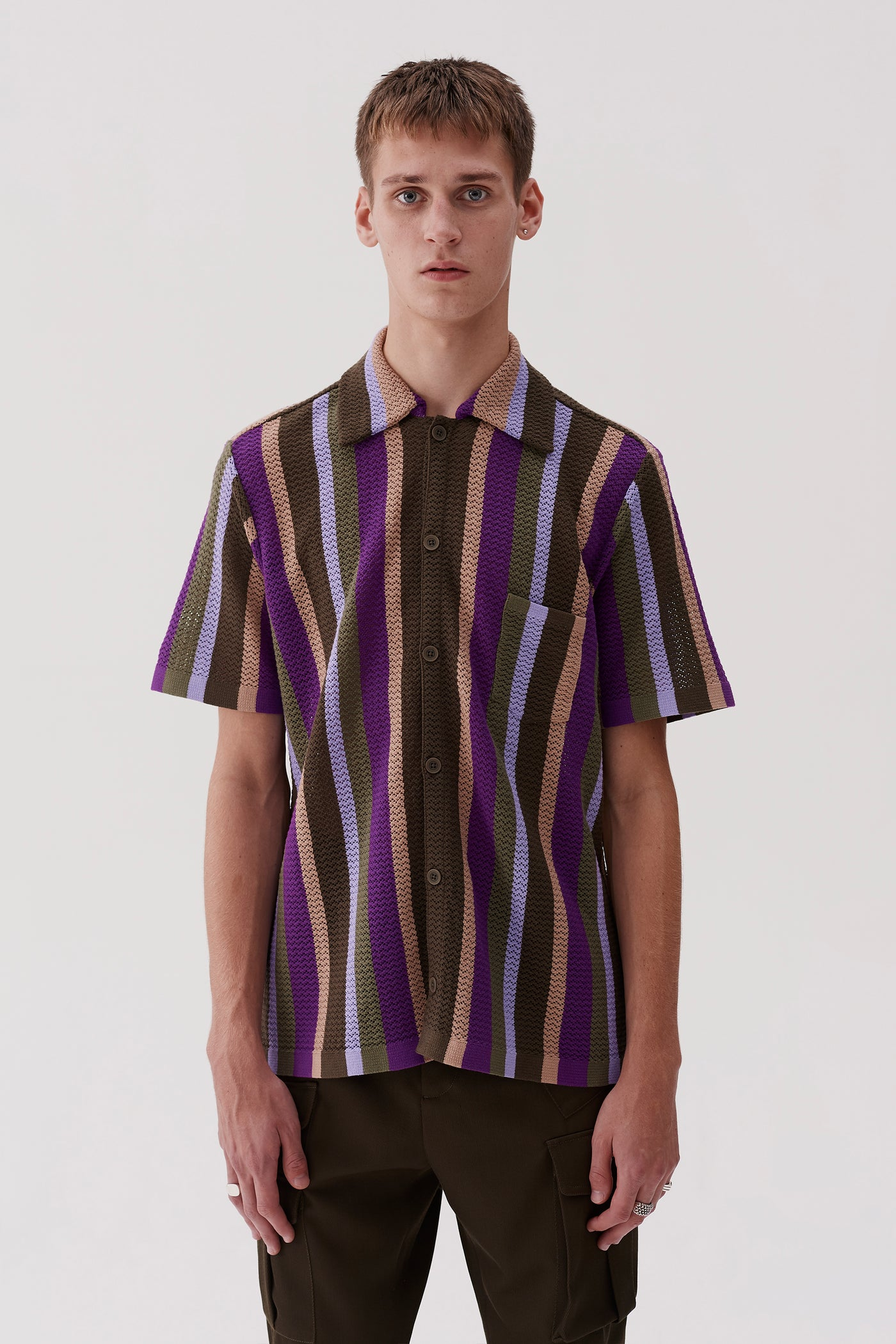 Wes Knitted Shirt Lavender Stripe