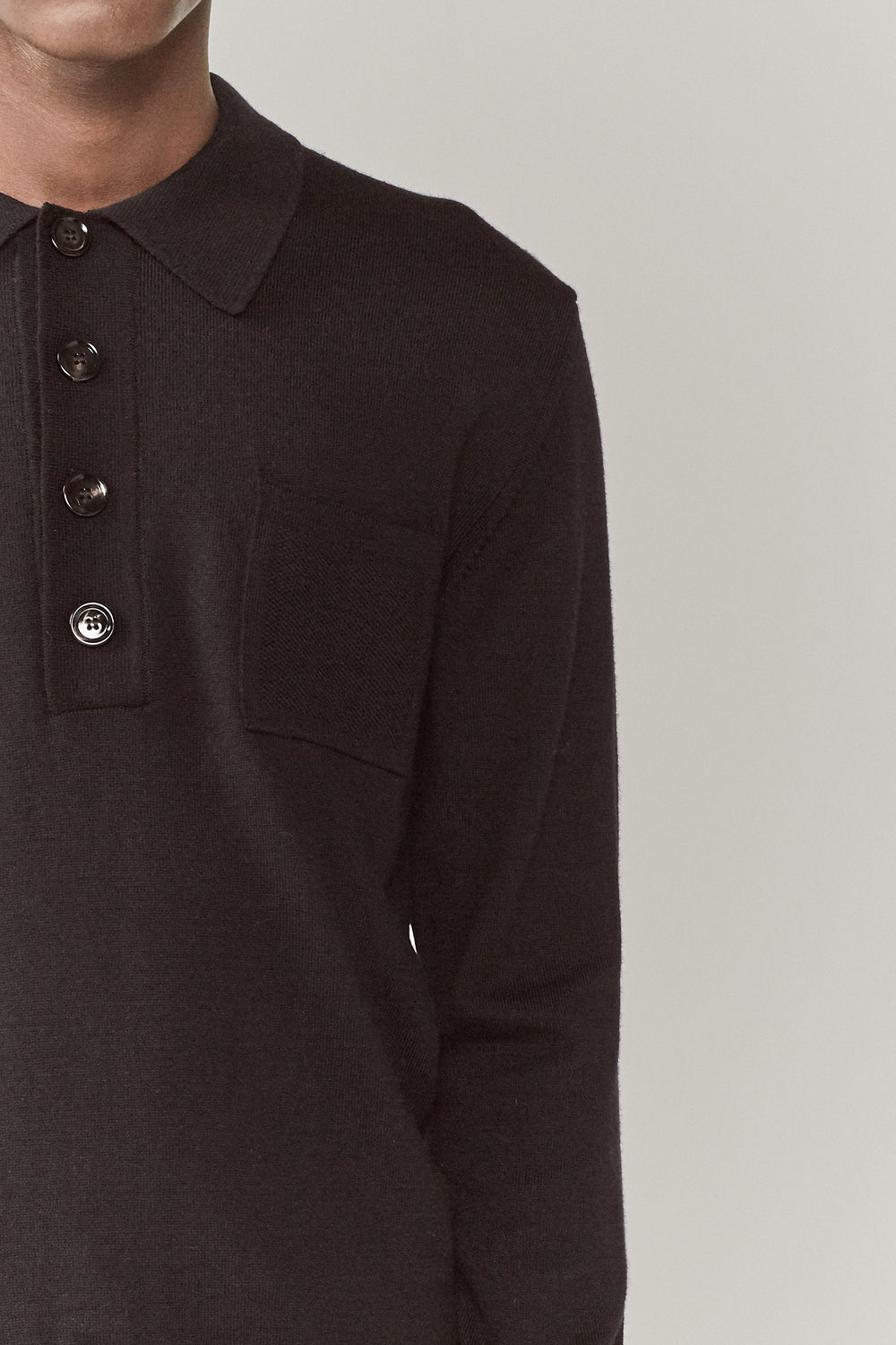 Curtis Long Sleeve Polo Black
