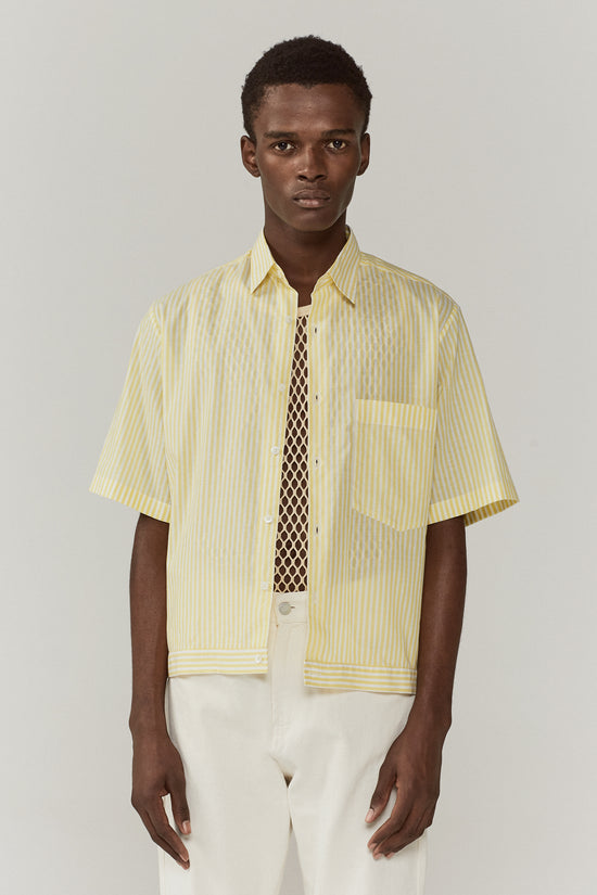 Damien Elasticated Shirt Yellow Stripe