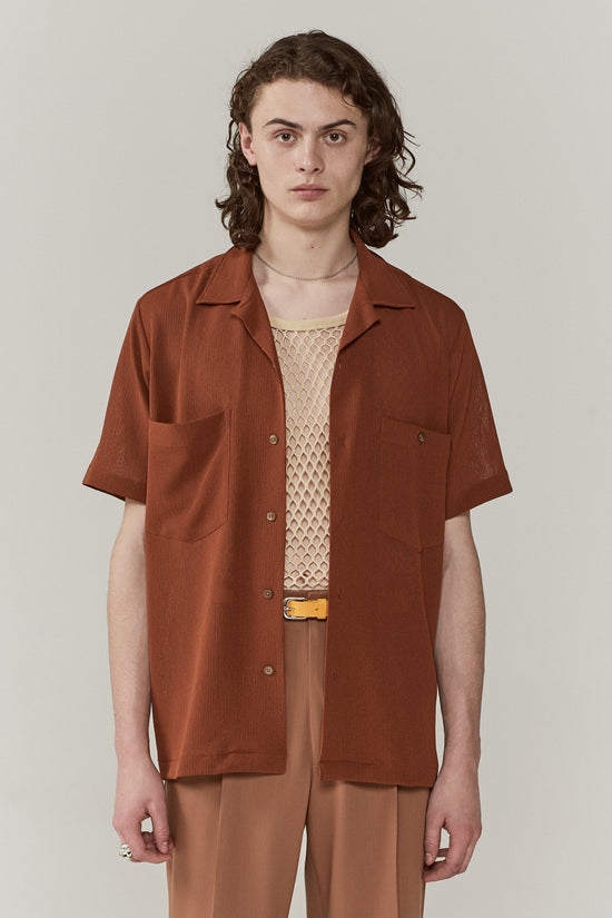 Dexter Camp Collar Shirt Burnt Umber