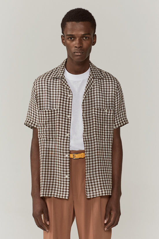 Dexter Camp Collar Shirt Brown Check