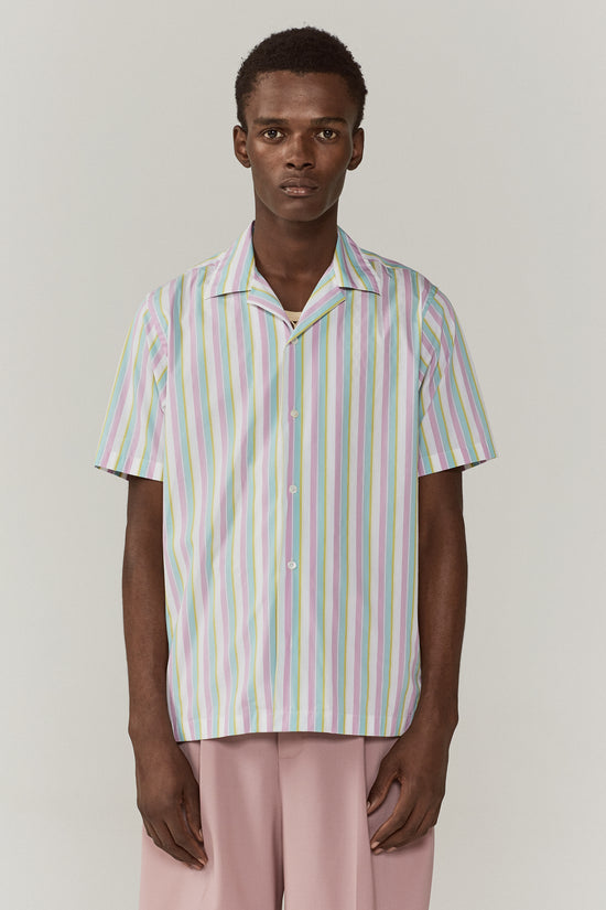 Dusty Camp Collar Shirt Pastel Stripe