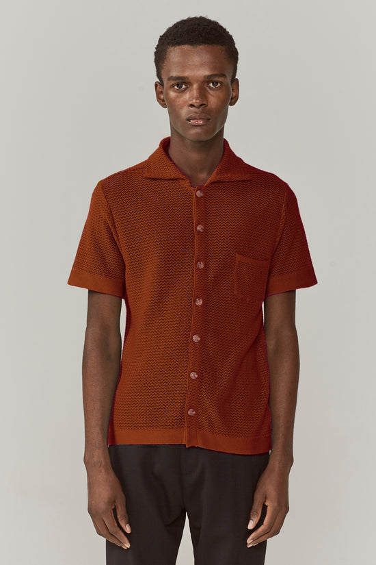 Wes Knitted Striped Shirt Burnt Umber