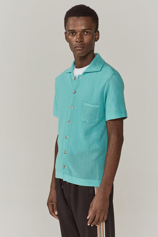 Wes Knitted Striped Shirt Mint Green
