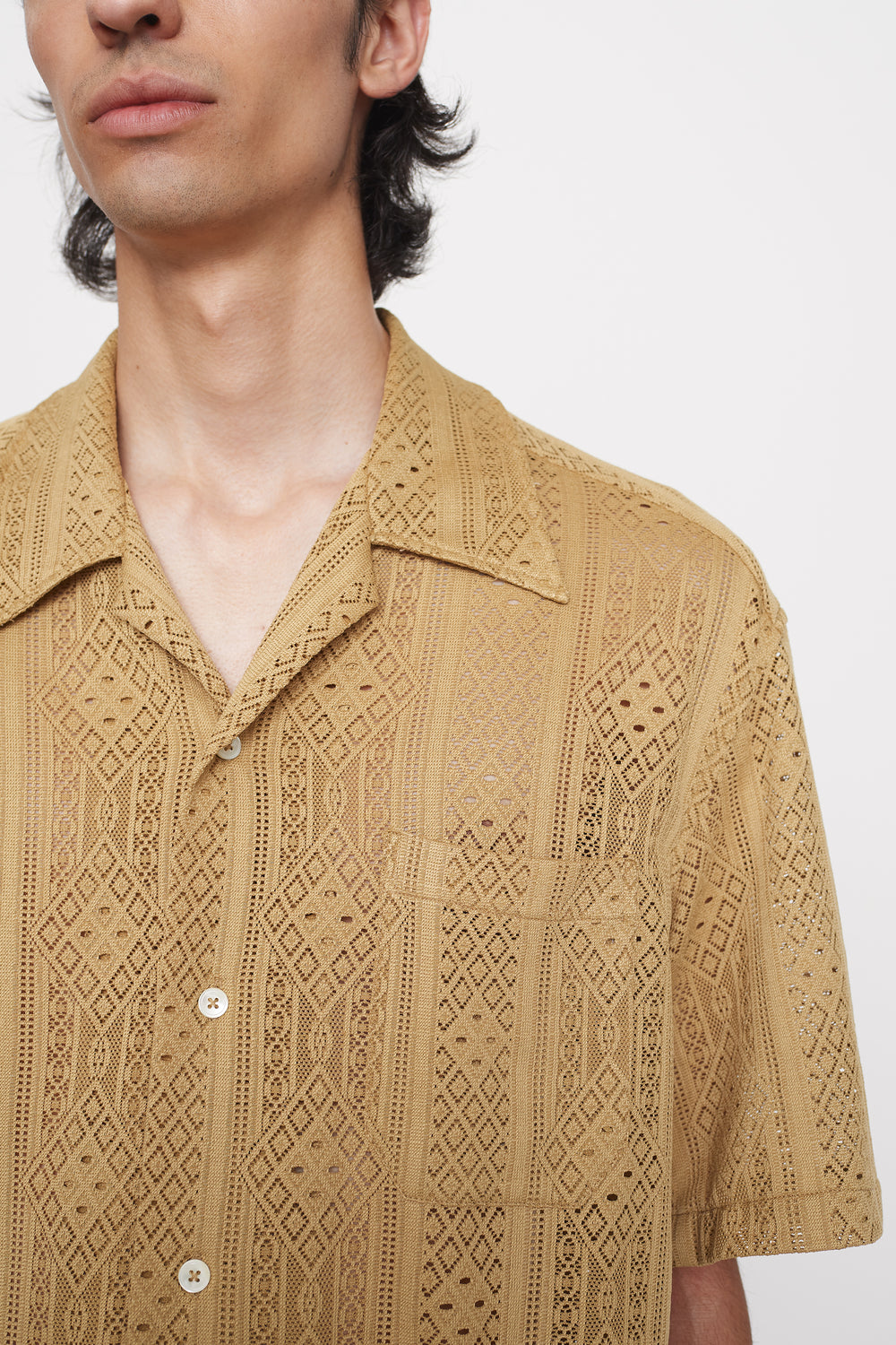 Ture camp collar shirt beige