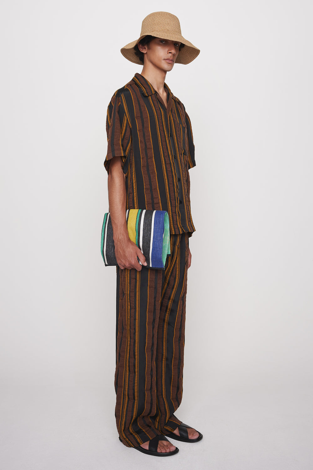Kylo drawstring trousers brown stripe