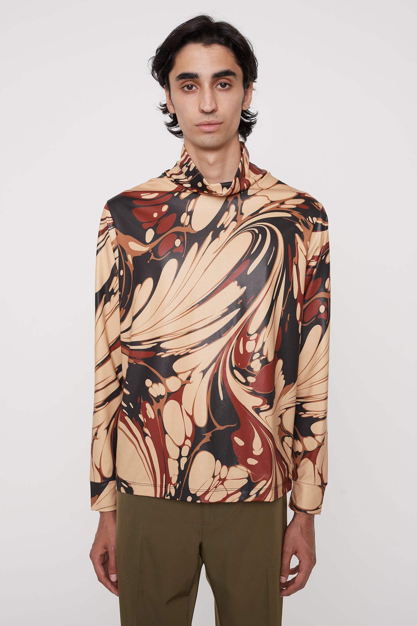 Enry mock-turtleneck jumper brown marble
