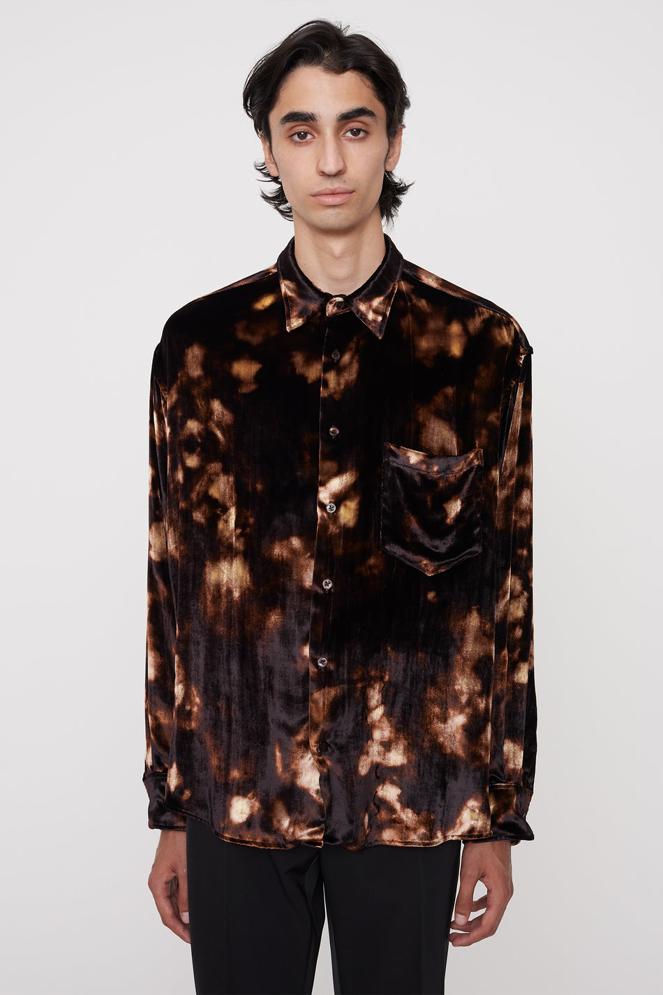Cedric velvet shirt brown print