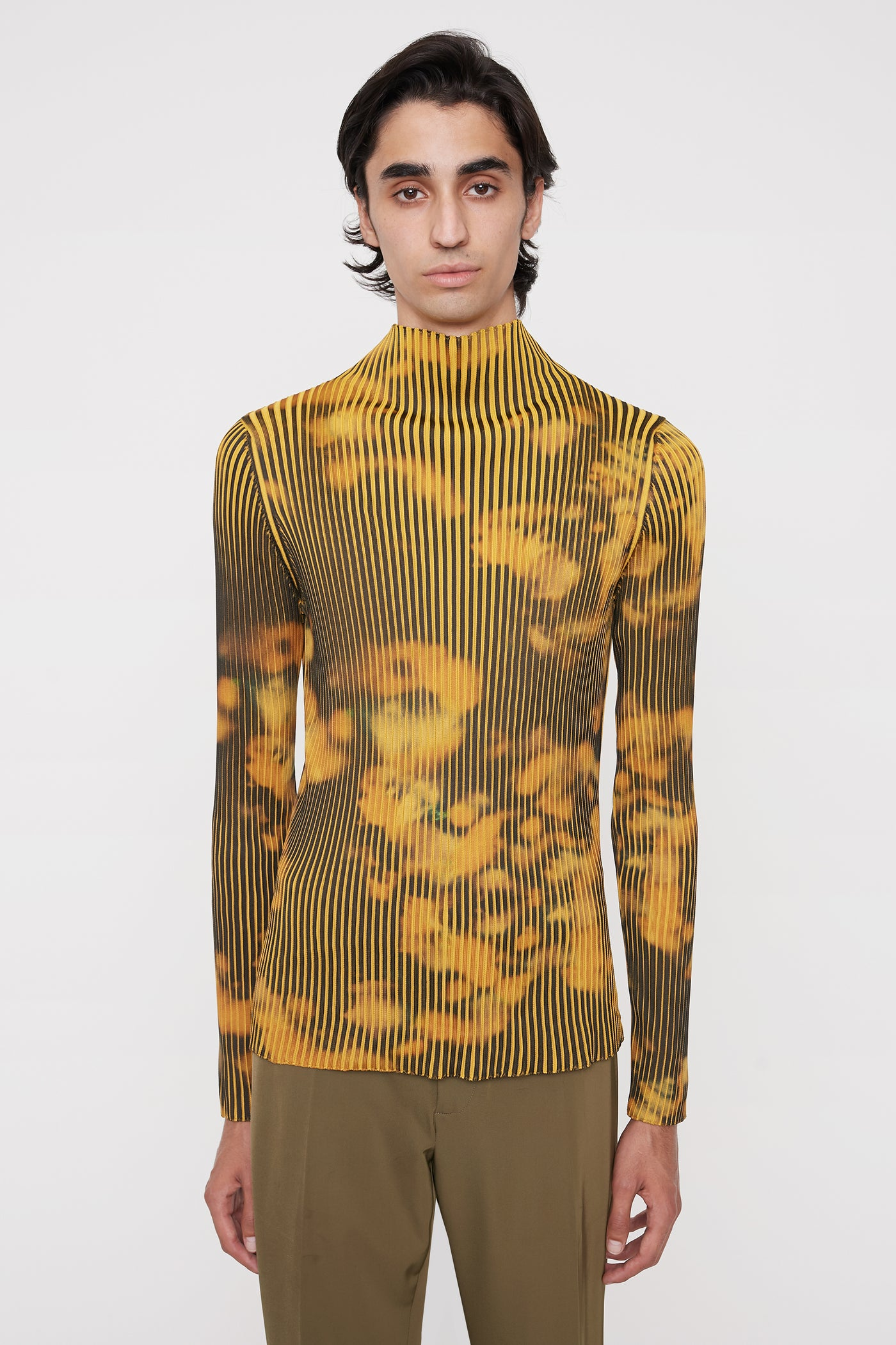 Theo ribbed jumper mustard print
