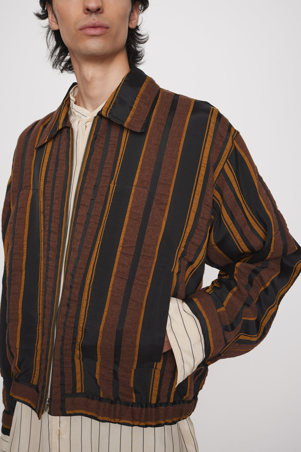 Sigurd lightweight blouson brown stripe