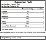 BCAA Hydrate nutrition facts