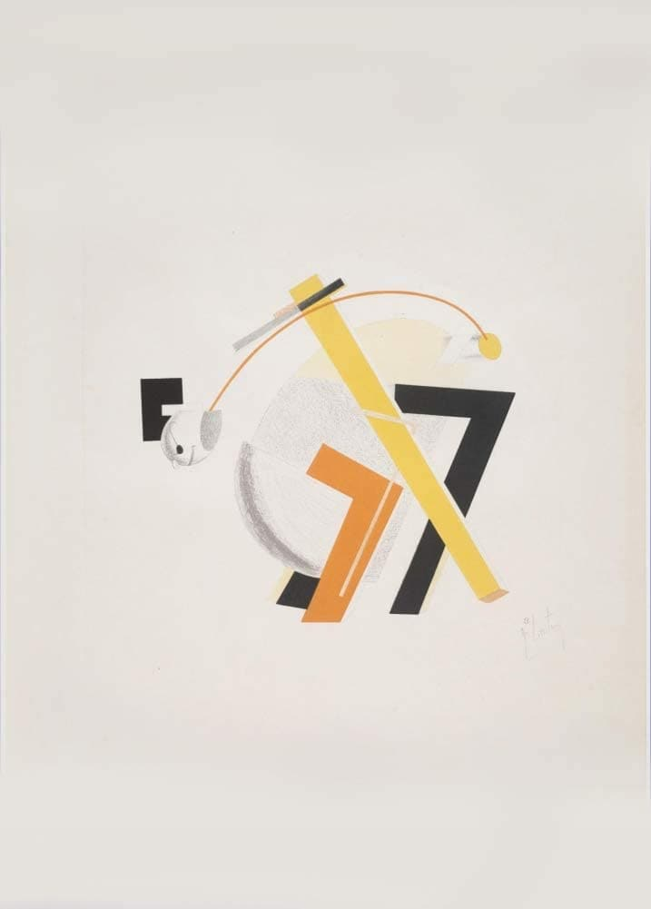 El Lissitzky 'Figurine Four, Three-Dimensional Design for 'Victory Over The Sun', Russia, 1923, Reproduction 200gsm A3 Vintage Constructivism Suprematism Poster