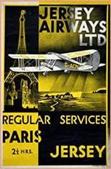 Vintage Travel Jersey 'France with Jersey Airways Regular Service to Paris', 1934, Reproduction 200gsm A3 Vintage Art Deco Travel Poster