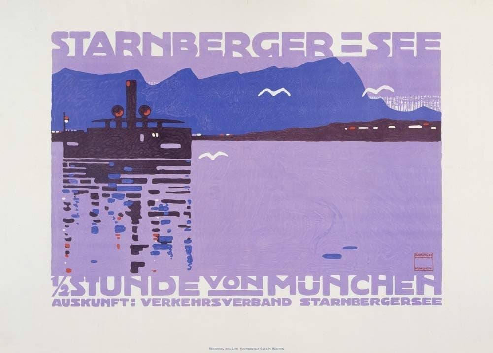Ludwig Hohlwein 'StarnBerger-See', Germany, 1910, Reproduction 200gsm A3 Vintage German Travel Poster