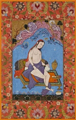 Iran, 17th Century, Woman in a Landscape', Reproduction 200gsm A3 Classic Islamic Art Poster
